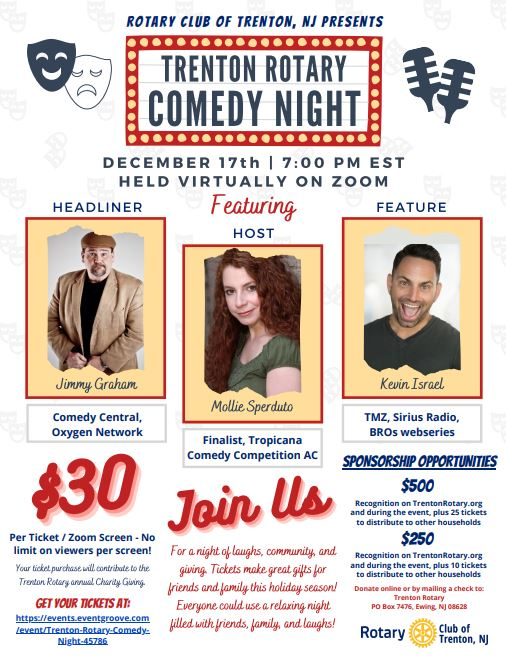 EVENING FUNDRAISER - TRENTON ROTARY CLUB'S FIRST-EVER COMEDY NIGHT (VIRTUAL) @ ZOOM